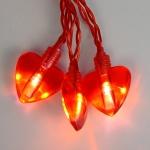 Гирлянда 1,9м красная Сердечки кабель красный 0,5м батарейки АА 20 диодов LED indoor