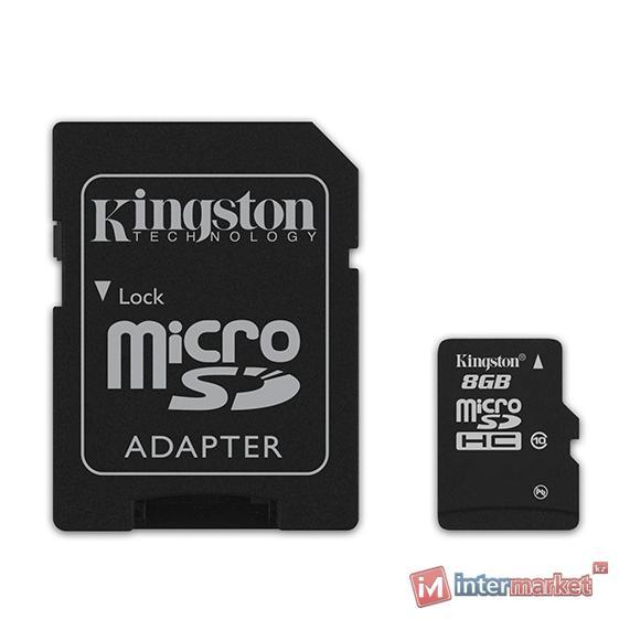 Карта памяти Kingston microSDHC 8Gb Class 10 + adapter MicroSD to SD