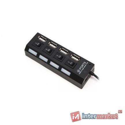 Расширитель USB, Deluxe, DUH4004BK, Чёрный
