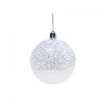 Белые шары с блестками. Диаметр 6см (4шт/уп)